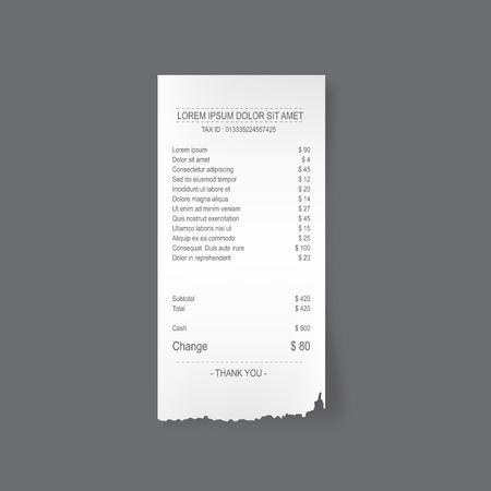 Papier gescheurde ontvangst, vector illustratie ontwerp.