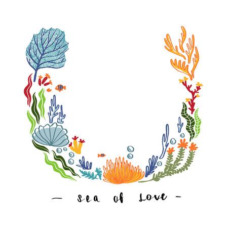 De hand trekt Overzees onkruid en bloemen, koraalontwerp voor spot op malplaatjegroet, uitnodigingskaart of ander gebruik, het vector uitstekende ontwerp van het illustratiemalplaatje.