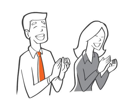 Un hombre de negocios y una mujer de negocios aplaudiendo en la sala de reuniones, la oficina y el concepto de lugar de trabajo. Ilustración de vector