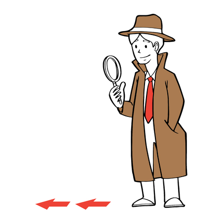 crime solving: a businessman as detective holding a magnification glass, searching clue, business problem concept. Illustration