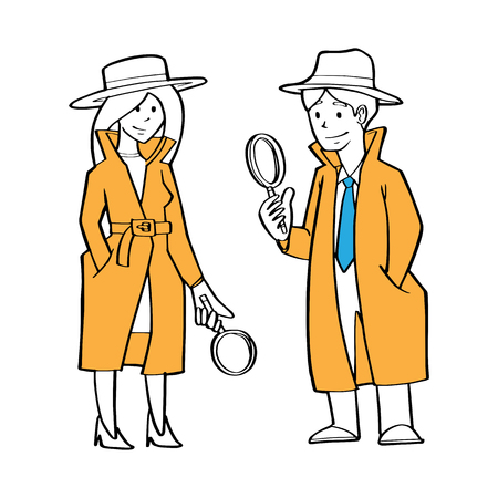 a couple of detective, businessman and business woman as detective holding magnification glass, searching clue, business problem concept.