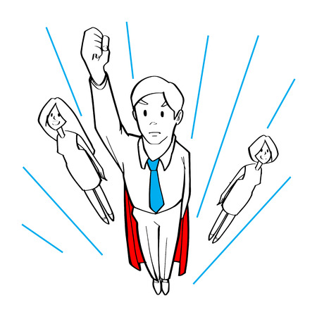 a Business people flying in the air as superheroes, Business teamwork, super team concepts.