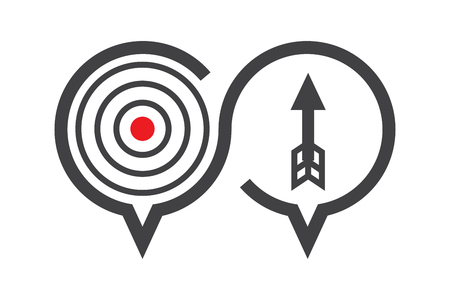 financial advice: Chat, discussion icon about solution or target, how to success concept, present by arrow and aim, vector illustration.