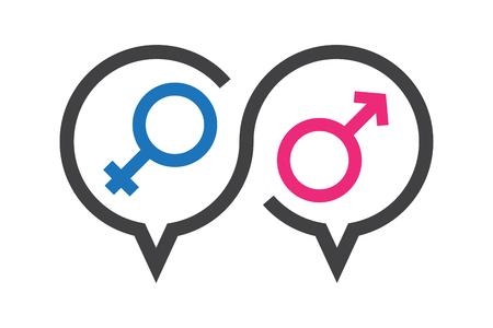 Vector illustratie, praatpictogram over seks in discussie, kennis over seksuele educatie.