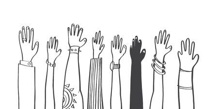 Colorful diversity people raised hands. illustrator vector flat design.