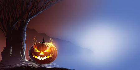 Digital illustration painting, Halloween Pumpkins On Barbed Wire In A Spooky Forest At Night.