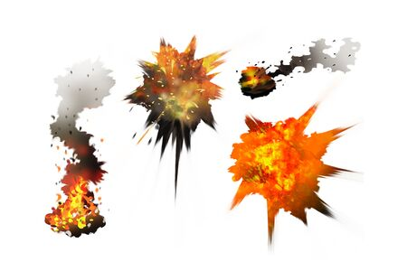 Digital illustration painting explosion, smoke, bonfire with clipping paths included.