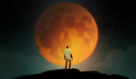 Digital illustration art painting style a man standing on the hill agains biggest the blue blood moon, many starry and clouds in night time, loneliness, lonely, introvert concept. Stockfoto