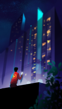 a man sitting on terrace and using smartphone agains many colorful light in building, digital art illustration painting.