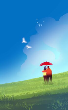 Digital illustration art painting style a couple lover under red umbrella in green field or meadow, white birds in bluesky and puffy clouds. love, valentines day concept. Stock Photo