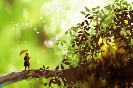 a man holding umbrella and standing on the giant tree, fantasy scenery, digital art style, illustration painting. Stock Photo