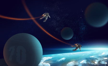 Digital illustration painting 2 astronauts fly by jetpack in outer space above the earth. Stockfoto