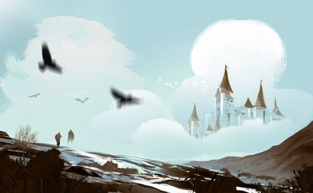 Digital art illustration painting style a big castle in clouds and snow mountains, fairytales, fantasy concept.