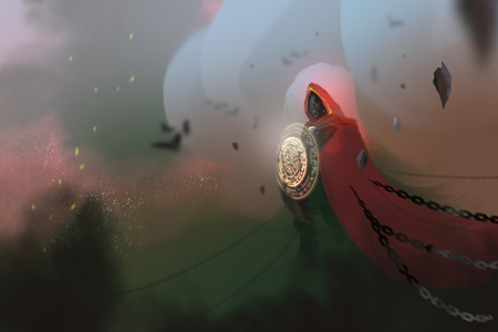 a red cloack sorcerer casted spell in the dark world and chains, digital art illustration painting. Stockfoto