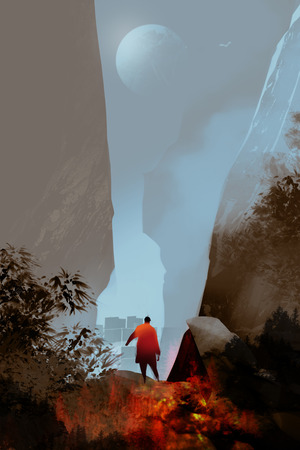 Digital illustration art painting style a man walking through to city and passed from fire forest, risk and survive concept. Stock Photo