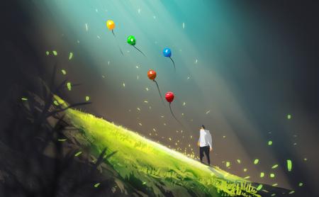 Digitale illustratiekunst het schilderen stijl een man en vele kleurrijke luchtballons in groot hol of geothermische, lichtstraal boven groen gebied. vrijheid, laat het concept zijn.