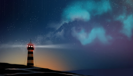 a Lighthouse working in milky way and star field, digital art style, illustration painting. Stockfoto