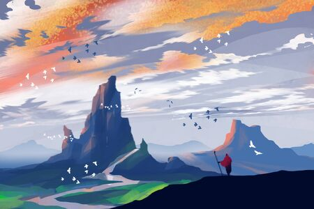 a man standing on the hill and seeing mountains in sunset time, digital art illustration. Stockfoto