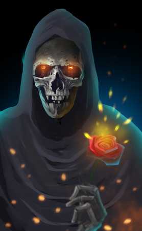 Digital illustration art painting style the reaper holding a red rose, immortal love , true love, forever love until die, valentines day concept.