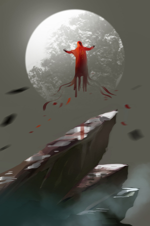 a red cloak sorcerer flying in the air, the moon above top of mountain, digital art illustration painting.