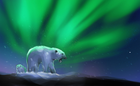 Digital illustration painting design style polar bears on the hill agains aurora borealis with starry sky.
