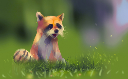 Digital illustration art painting style a raccoon smiling and sitting on spring green grass.