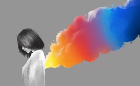 asian beautiful girl and colorful smoke flare, digital illustration art painting style. Stockfoto