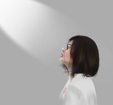 Asian woman crying with tear of blood and spotlight, digital illustration art painting design style. Stockfoto