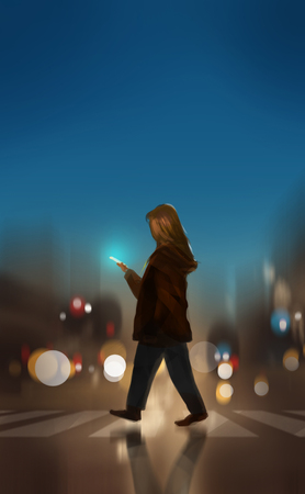 a woman crossing the road and using smartphone, digital illustration art painting design style.