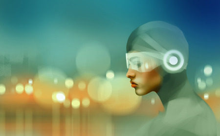 woman in future suite against bokeh's city, or virtual reality concept, digital illustration art painting design style.