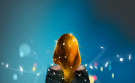 beautiful blonde red hair girl with Christmas fairy lights against dark blue midnight, digital illustration art painting design style. Stockfoto
