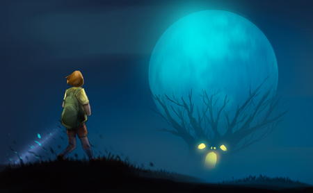 girl with flashlight standing on the hill look at to scary trees, halloween concept, digital illustration art painting design style. Stockfoto