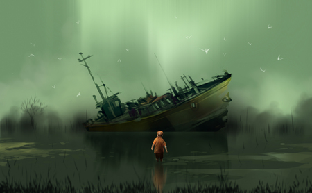 a boy standing in the swamp look at to abandoned boat against huge waterfall, digital illustration art painting design style.