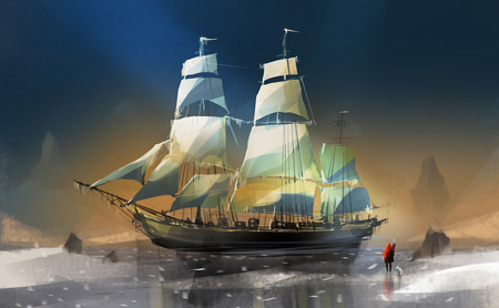 boy and dog standing on snow against big wooden sailboat, digital illustration art painting design style.