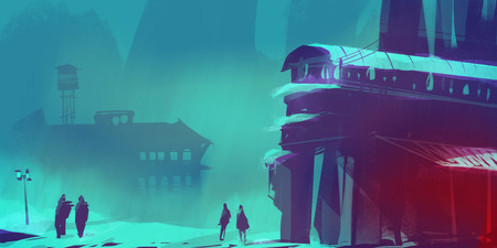 people in winter season with old town, digital illustration art painting design style.