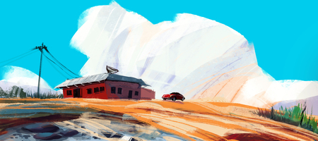red house in desert with sport car against blue sky and puffy clouds, digital illustration art painting design style. (wide screen) Stockfoto