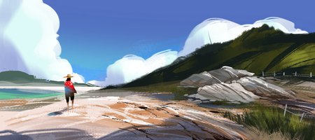 man walking on the beach against blue sky and blue sea, digital illustration art painting design style. (wide screen)