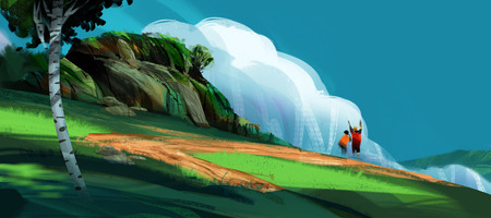 a couple standing on the high hill against mountains and blue sky, digital illustration art painting design style. (wide screen)