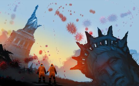 Digital illustration painting design style a couple wearing Hazmat Suit, Mask and standing beside of ruined Statue, against virus in the air and sunset. Imagens