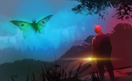 Digital illustration painting design style a man holding flashlight facing the Mothman cryptid mythological.