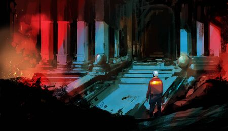 Digital illustration painting design style a man standing in front of abandoned sanctuary. Imagens