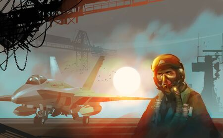 Digital illustration painting design style a pilot standing beside the fighter jet in aircraft carrier, against the big sun.