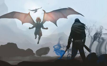 Digital illustration painting design style a samurai against last devil's boss, ready to fighting.
