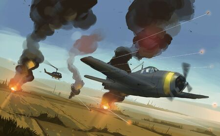 Digital illustration painting design style helicopter shooting to airplane over  Asia's paddy , aircraft war. Imagens