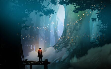 Digital illustration painting design style man standing on the pier against  flyflies and big trees. Imagens