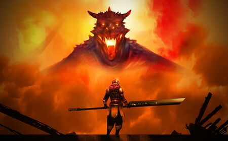 Digital illustration painting design style a man in Hi tech Armour suit hold sword standing against the Dragon in big explosion. Imagens