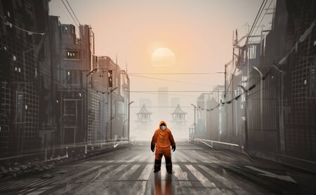 Digital illustration painting design style a man wearing Hazmat Suit, Mask and standing in abandoned town, against sunset.