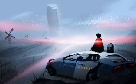 Digital illustration painting design style a a man sitting on roof of the old police car, against aliens's robot. Imagens