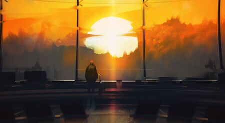 Digital illustration painting design style a man standing and looking to outside the airport against sunset.