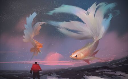 Digital illustration painting design style a man standing on the snow mountain, against giant Betta fishes flying in the sunset sky. Imagens